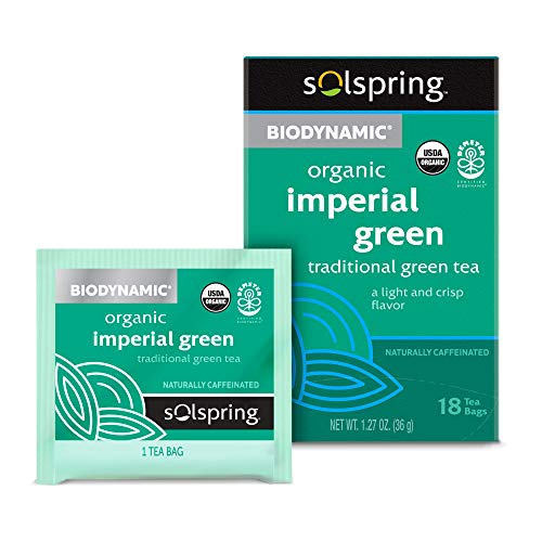 Dr. Mercola Solspring Biodynamic Organic Imperial Green Tea, 18 Tea Bags, Light and Crisp Flavor, Naturally Contains Free, non GMO, Gluten Free, Soy Free, USDA Organic, Demeter Certified Biodynamic