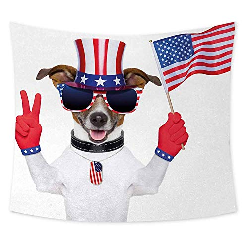 jecycleus 4th of July Hippie Tapestry Wall Hanging Funny Pet Dog with an Uncle Sam Hat Holding a Peace Sign and an American Flag Wall Decor for Bedroom Tapestry W84 x L70 Inch Multicolor