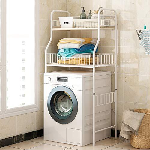 Rejilla para lavadora Máquina de lavadora de tambor de hierro, bastidor de lavado multiusos, bastidor de almacenamiento de lavadora de 2 capas, crea múltiples espacios de almacenamiento adicionales pa