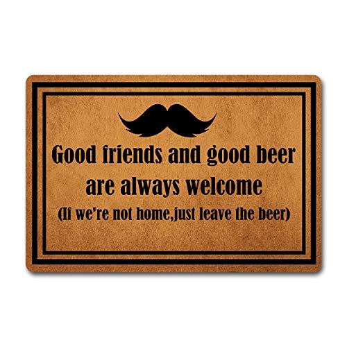 Eureya Good Friends and Good Beer Are Always Welcome - Felpudo (60 x 40 cm), diseño con Texto Good Friends and Good Beer Are Always Welcome