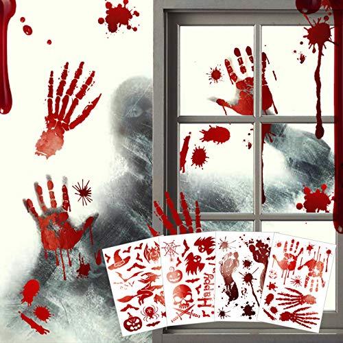 Halloween Blutige Aufkleber - 4 Stück (10 x 14 in) Horror Fenster Aufkleber Wandaufkleber Deko mit Hände Fußabdruck Ghost Blutspritzer Bats Hexe, Euproce 51 Pcs Halloween party Badewanne Dekoration