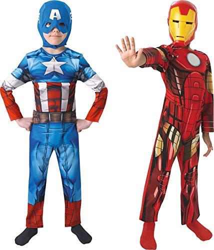 Rubie's-déguisement officiel - Marvel- Déguisement Pour Enfant Bi Pack Avengers Assemble Captain America + Iron Man - Taille M- 154992M