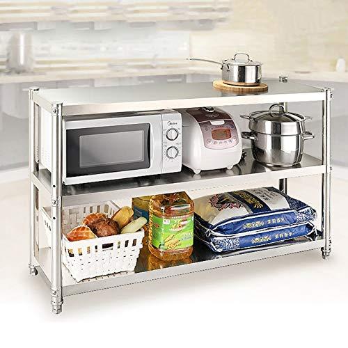 LXDDP Freistehendes Regal, Edelstahl-Mikrowelle und Toaster-Ofen Stehen 3 Tier White Tall Kitchen Utility Cabinet mit 4 Haken