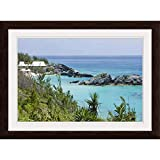 GREATBIGCANVAS Bermuda. East Whale Bay Beach at Espresso Framed Wall Art Print, Coastal Home Decor, 24'x16'.75'