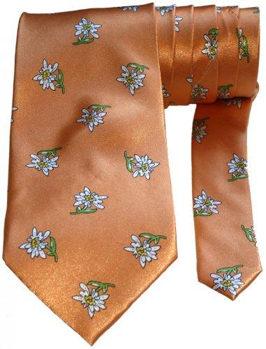 German Wear, edle bayrische Krawatte Trachtenkrawatte mit Edelweiß, Farbe:Orange