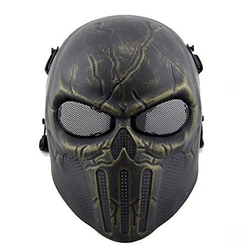 ATAIRSOFT Worldshopping4U Tactical Airsoft Full Face Skull Mask Paintball Game CS Safety Game For Outdoor Hunting Activity Costume Bar Theme Party Halloween Carnival Cosplay
