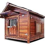JHKGY Casa De Perro De Madera Al Aire Libre,Perrera Estilo Cabaña De Troncos,Muebles Impermeables Resistentes A La Intemperie para Mascotas,para Animales Pequeños Medianos Grandes,XL