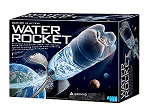 The 4M Water Rocket Kit uses the power of water pressure to blast its rocket up to 90 feet in the air The kit contains all the parts required to transform a recycled soda bottle into a functioning water rocket This kit is ideal for young science enth...