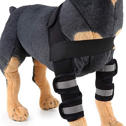 Tineer 1 Paar-Pet Ellenbogenbandage, Reflektierende Hund Beinmanschette Hund Knieschoner Beschützer Hund Chirurgische Verletzung Recovery Feste Knieorthese Hund Füße (L, Reflektierendes Schwarz)
