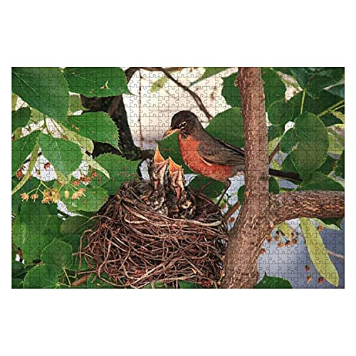 Wooden Puzzle 1000 Pieces Robin Bird with her Chicks in Their nest Robins and Pictures Jigsaw Puzzles for Children or Adults Educational Toys Decompression Game