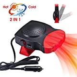 KVW 【2020 New】 Car Heater 12V 150W Portable 2 in 1 Car Heater Car Defogger Defroster,Fast Heating & Cooling Fan for Automobile Windscreen,It is Designed to Quickly Clean The Frost, Fog(Red)