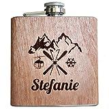 Ski Holz Flachmann mit persönlicher Namens Gravur Geschenk Skifahrer Skifahren Skiurlaub Winter Urlaub in Bergen Alkohol Après-Ski Männer Frauen