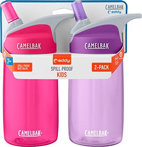 CamelBak Eddy Kids 2-Pack Water Bottle, Pink/Lilac, 4 Liter- 12 Oz