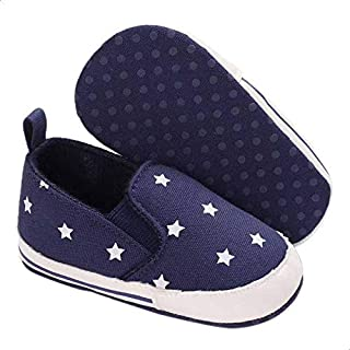 Mix and Max Pull-Tab Elastic-Insert Star-Pattern Low-Top Slip-on Shoes for Boys - Navy, 9-12 Months