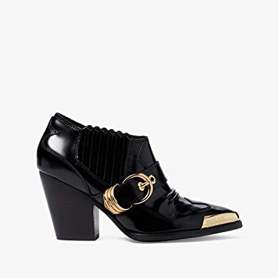 Versace Jeans Couture Western Bootie with Gold Hardware (Black) Women