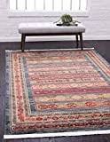 Unique Loom Fars Collection Tribal Modern Casual Area Rug, 5 x 8 Feet, Blue/Red