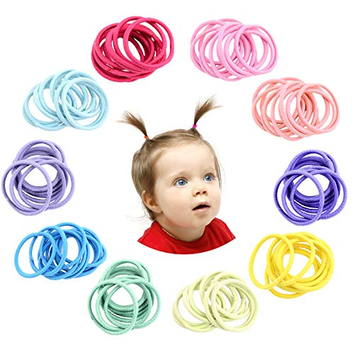 Hanyousheng 200 Stück Haargummis Mädchen,Bunt Elastisch Haargummis,2mm Multicolor Haarbänder Nichtmetall, Klein Elastisch Haarbänder Pferdeschwanz Inhaber Haarzubehör für Kleine Mädchen Kinder