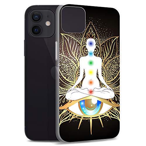 Compatible for iPhone 12 Pro Max Case Chakra Yoga Spiritual Artwork Yogini Clear Anti-Scratch Covers TPU Phone Cases