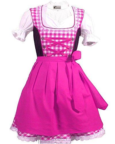 Kiddy Tracht Trachtenkleid 3tlg. Kinder Dirndl Mädchen Kleid Gr. 92,104,116,128,140,146,152, Hotpink Weis Kariert, 128
