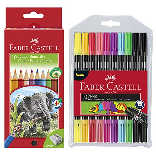Faber-Castell Buntstifte Jumbo (inklusive Spitzer) 10er Kartonetui + Fasermaler Neon 10er