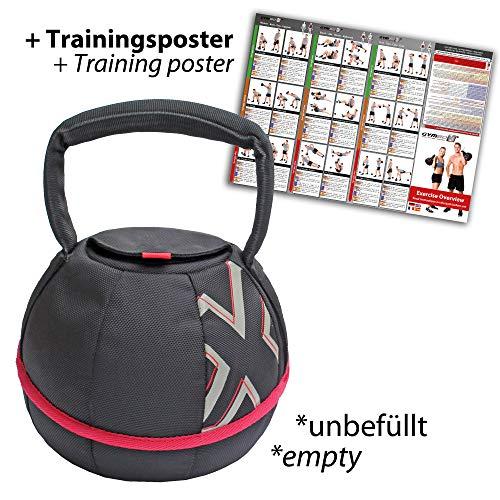 GYMBOX® Bolsa de Arena/Pesas Rusas/Kettlebell/Fitness Bag/Power Bag | Entrenamiento Muscular/Funcional/de Pesas Libres | Puede Estar llenado con Arena | Negro, 6 kg | vacío