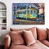 MKWDBBNM Acuarela City Street Bus Tranvía Arte Impresión en Lienzo Pintura Morden Graffiti Imagen de Pared Sala de Estar Decoración del hogar Póster   60x80cm Sin Marco
