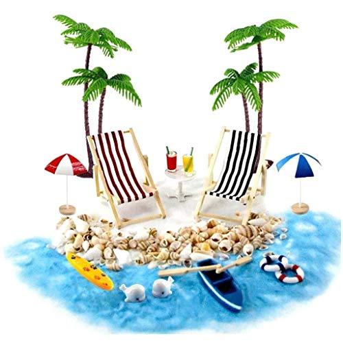 Odoukey Baby-Haus Zubehör Mini Beach Set Dekoration Strand Mikrolandschaft mit Liegestuhl Sonnenschirm Regenschirm Sommer Palme 18pcs
