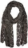 Betsey Johnson Women's Sequin Scallped Edge Crochet Evening Wrap, black, one size