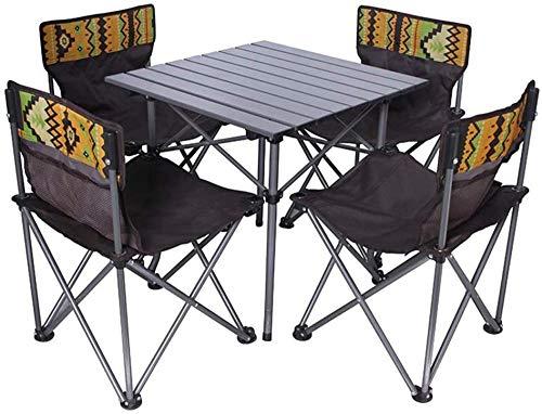 Juego de 5 sillas de mesa plegables portátiles de camping con bolsa de tela Oxford 600D para pícnic al aire libre en la playa, jardín, playa, con portavasos