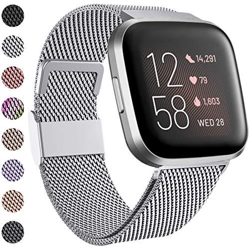 Funbiz Compatibile con Fitbit Versa Cinturino/Fitbit Versa 2 Cinturino, Metallo Cinturino in Acciaio Inossidabile con Unico Serratura per Fitbit Versa/Versa 2/Versa Lite, Piccolo Argento