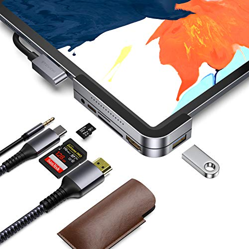 Invisible USB C Hub for iPad Pro, iPad Pro 2018 Docking Station Stouchi 6 in 1 iPad Pro Dongle Adapter- USB 3.1 (5Gb/s), 4K HDMI, 3.5mm Headphone and Micro/SD Card Readers for 2020 iPad Pro and More