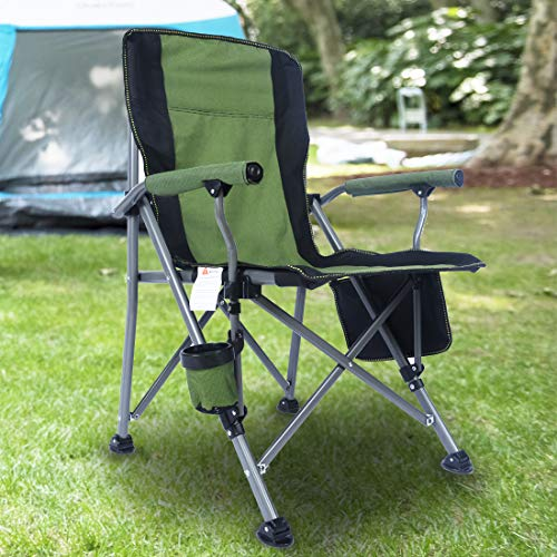 Homcosan Portable Camping Chair Folding Quad Outdoor Large Heavy Duty Support 330 lbs Thicken 600D Oxford with Padded Armrests, Storage Bag, Beverage Holder, Carry Bag for Outside(Green)