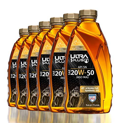 Ultra1Plus SAE 20W-50 Full Synthetic 4T Engine Oil, API SN, JASO MA2   6 Pack QT