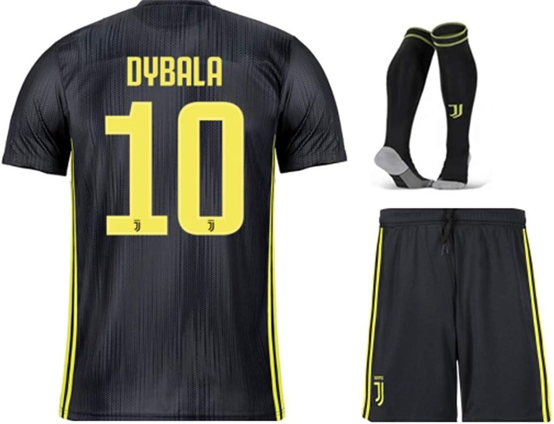 Sybabyt Juventus Dybala  10 Kids Youths Third Soccer Jersey & Short & Socks Kit Black
