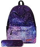 Vecys zaino galassia zaino scuola con stampa stelle zaino con astuccio ragazza zaino ragazza tempo...
