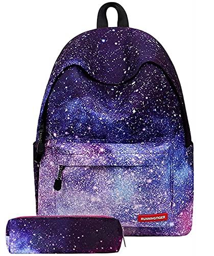 Vecys zaino galassia zaino scuola con stampa stelle zaino con astuccio ragazza zaino ragazza tempo libero(Cielo stellato viola)