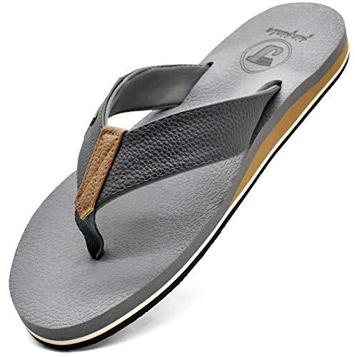 JIAJIALE Chanclas de Cuero para Hombre Verano Playa Piscina Sandalias de Tanga Con Soporte de Arco Vacaciones Ocasionales Zapatos Antideslizantes Con Suela de EVA Interior al Aire Libre