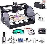 【 2 en 1】3018 Pro-M CNC Fresadora con Módulo De 3 w, TwoWin 3 ejes DIY Maquina De Grabado Mini con GRBL Control Board, El Controlador Fuera De Línea, ER11, para Madera, PCB, Cuero