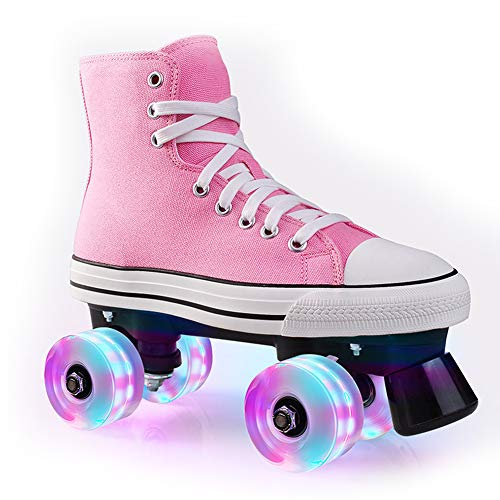 Pinkskattings@ Kinder Rollschuh Rollerskates Skates Mädchen Frauen Rollen Inliner Alle Räder Leuchten, Mehrere Farben,Rosa,35