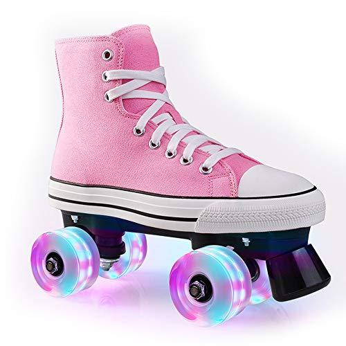 Pinkskattings@ Kinder Rollschuh Rollerskates Skates Mädchen Frauen Rollen Inliner Alle Räder Leuchten, Mehrere Farben,Rosa,39