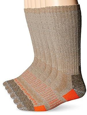 Carhartt Men's 6 Pack All-Terrain Boot Socks, Brown, Shoe Size: 6-12