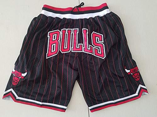SHR-GCHAO Pantalones Cortos De Baloncesto De NBA Chicago Bulls De Los Hombres Pantalones Cortos De Malla Transportables, Chándal Corto De Moda para Adolescentes Y Niños Pequeños,Negro,XL(180~185cm)