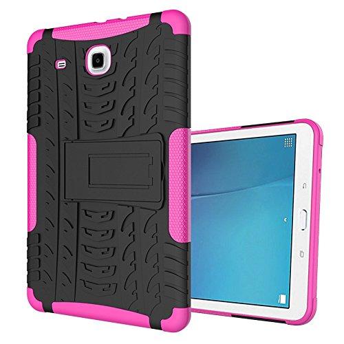 DWaybox Tab E 9.6' Tablet Custodia Hybrid Rugged Heavy Duty Armor Hard Back Cover Custodia per Samsung Galaxy Tab E 9.6 Inches 2015 SM-T560/T561 Stand Custodia with Kickstand (Hot Pink)