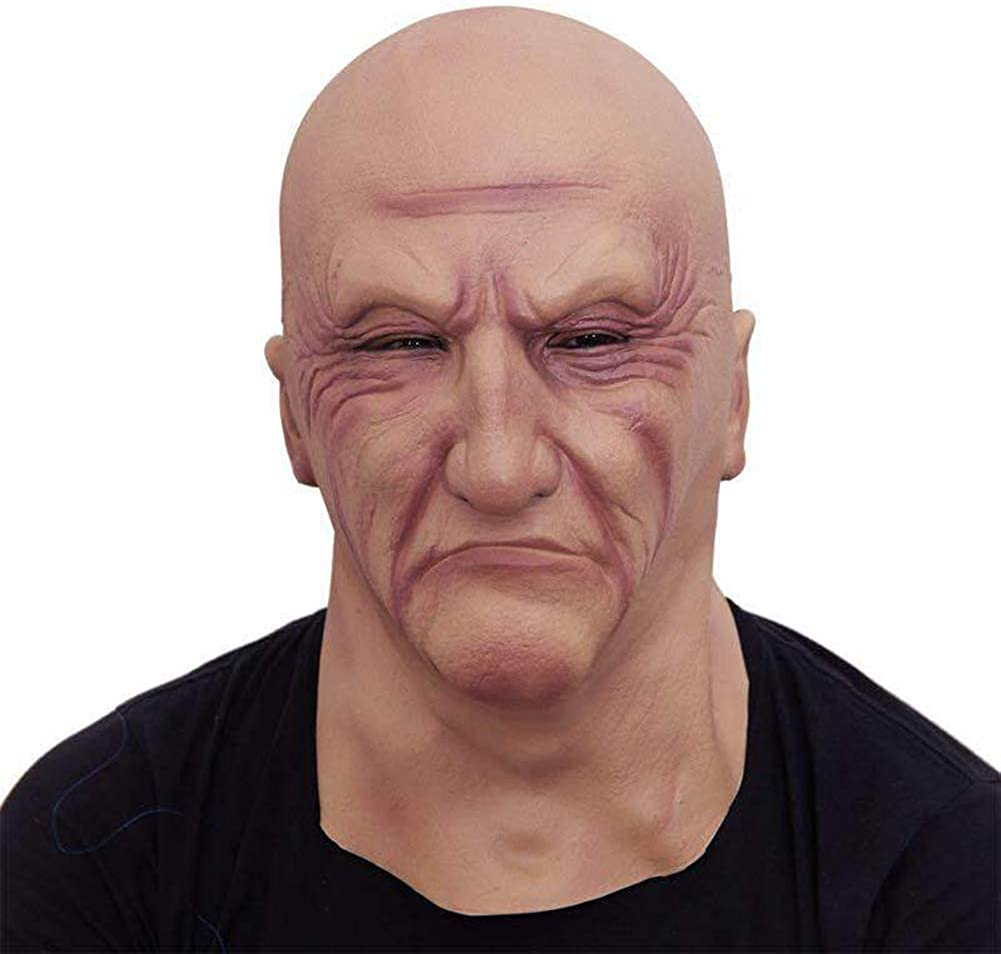 Realistic Man Mask Male Human Face Disguise Halloween Consume Dress Full Head