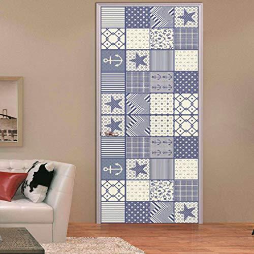PVC Retro estilo mediterráneo pegatinas de puerta artística para sala de estar dormitorio decoración del hogar calcomanías cartel extraíble adesivo de parede
