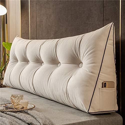 HYYY Cojín De Almohada De Cuña Triangular Cojín De Respaldo De Lectura Headboard Bolster Support Pillow Solid Color Soft Cubierta Lavable Extraíble Grande para Sofá Cama,White-L:120*H:50*W:20cm