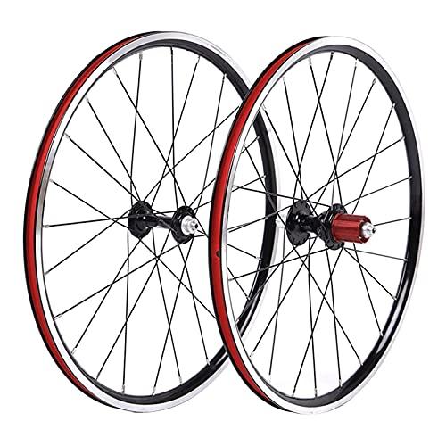 VTDOUQ Juego de Ruedas para Bicicleta BMX, aleación de Doble Pared de 20', llanta 451, 24 h, Negro, 8-10 velocidades, buje de Cassette QR, radios de Acero, Rueda Delantera y Trasera