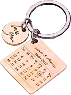 تقویم شخصی حک شده سفارشی تاریخ قلم زنی پیام کلید فولاد ضد زنگ