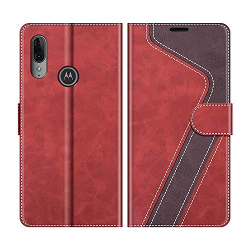 MOBESV Handyhülle für Motorola Moto E6 Plus Hülle Leder, Motorola Moto E6 Plus Klapphülle Handytasche Hülle für Motorola Moto E6 Plus Handy Hüllen, Modisch Rot