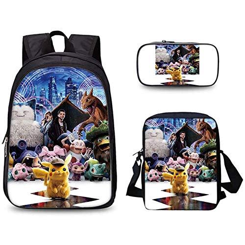 SHIXUE Mochilas Escolares Respirable Backpack Pokémon Detective Pikachu Mochilas con Bolsa de Almuerzo Bolso Lápiz para Niños Niñas Infantiles,E